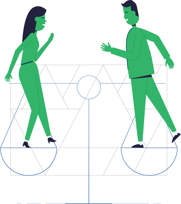 Illustration man and woman balancing in a scale