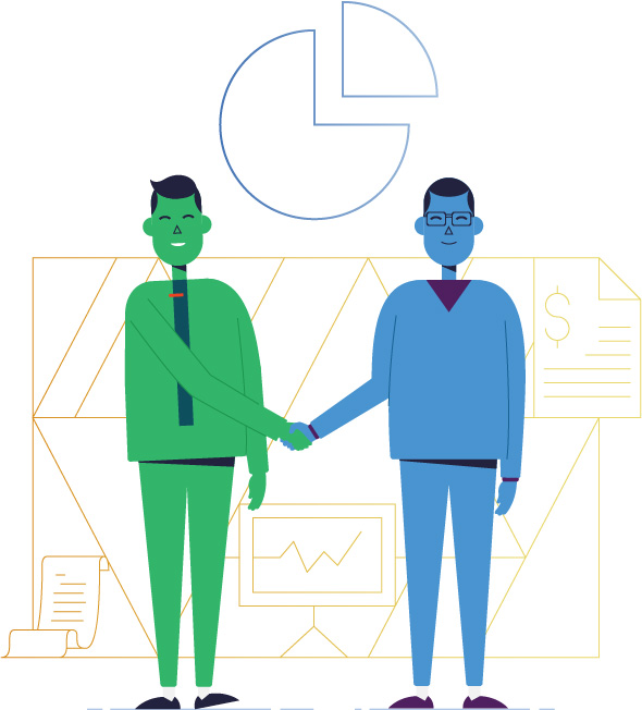 Illustration men shaking hands